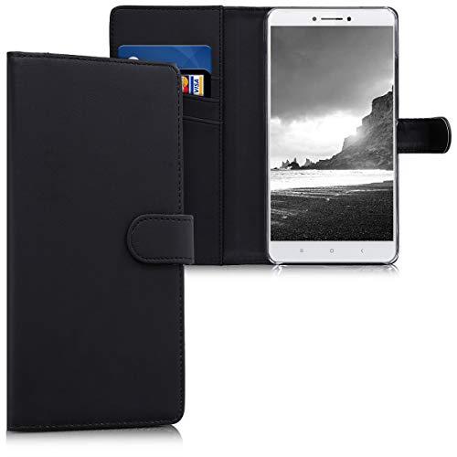 kwmobile Funda para Xiaomi Mi MAX 2 - Carcasa de Cuero sintético - Case con Tapa y Tarjetero en Negro