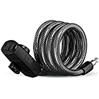 Durable Bike Lock Bicycle Outdoors Anti-Theft Cable de Acero de Bloqueo de Seguridad de Carga USB Glow (Negro)