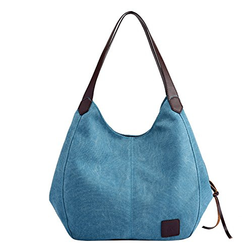 Leinwand Tote Handtasche Tasche (PB-SOAR Damen Mädchen Modern Canvas Shopper Schultertasche Handtasche Henkeltasche Hobo Bag Beuteltasche (Blau))