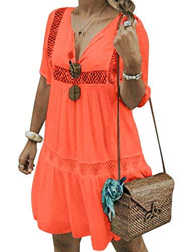 Cindeyar Damen Sommerkleider V-Ausschnitt Strandkleider Einfarbig Kurzarm Casual A-Linie Kleid Boho Kleid (S, Orange) - Orange Kleid Sommerkleid
