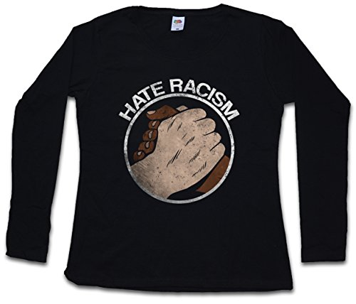 Urban Backwoods Hate Racism Women Donna T-Shirt A Manica Lunga – Taglie XS – 2XL Nero