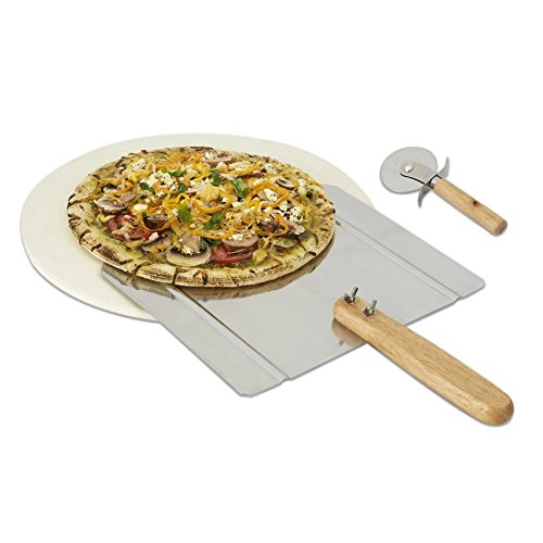 Pizza Grilling Stone, Peel and Pizza Cutter Complete Set for BBQ or oven