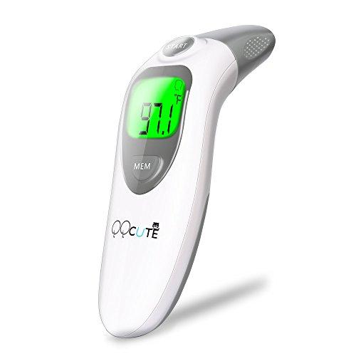 QQcute Ohrthermometer digitales Infrarot Fieberthermometer Stirnthermometer für Baby Kinder Erwachsenen Oberflächen mit Stumm-Modus Haushaltsthermometer höhe Genauigkeit Hintergrundbeleuchtung