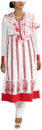 MGM Women's Khadi Straight Salwar Suit (MGMK0021_42, White & Red, 42)