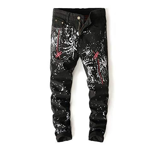 SFSF Herren Bedruckte Jeans Mittlere Taille Schmale Hose Gerade Reißverschlussöffnung elastische Kraft Bleaching Gewaschen Vielseitige Jeans für Herren schwarz,36 -