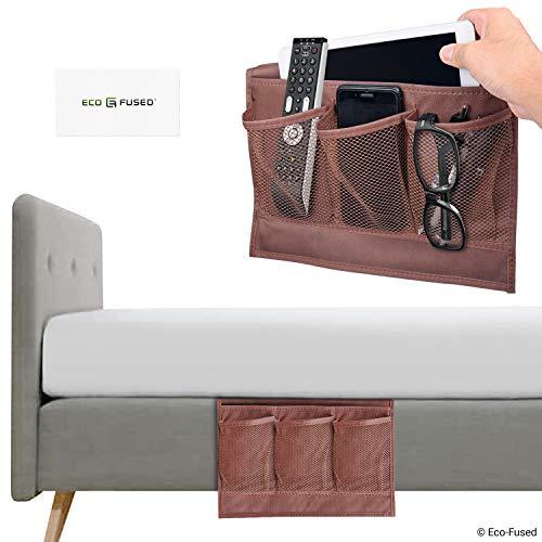 Organizzatore con tasche da lato letto - set da 2 - cioccolato - questo porta oggetti mantiene le cose a portata di mano sul tuo divano/letto - telecomando, telefono, tablet, rivista, occhiali ecc.