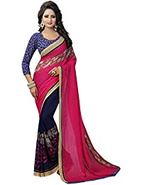 Krishnam Fashion Daily Wear Georgette Saree With Blouse Piece (Pink And Blue,Free Size,Pack Of 1)