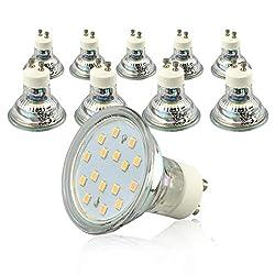 KYOTECH GU10 LED Lampe,Form 10 Stück, Ersatz für 50W Halogenlampen-5W 230V Warmweiss 3000K,LED Leuchtmittel,110° Abstrahlwinkel,Energiesparende Birne in Reflektor
