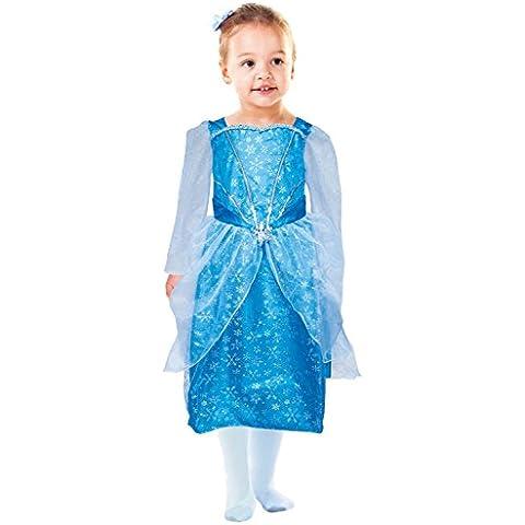 Idena 30077 - vestido de traje de princesa con los copos de nieve, 116, azul