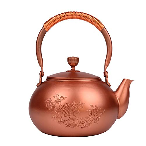Teekessel Cast Kupfer Teekanne Keine Beschichtung, Hand Gegossene Kupfer Teekanne, Pfingstrose Muster, 1,2 L