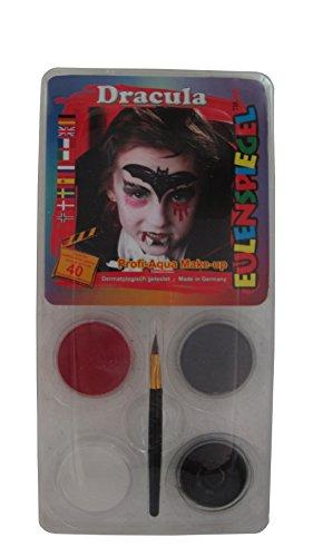 Profi Schminkfarben Schmink Set, motiv dracula, 1er Pack (1 x 5 Stück) (Schwarz-weiß Und Rot Halloween-make-up)