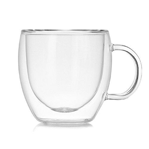 ATpart Tasse Doppelschichtiges Glastasse Hitzebeständig Mit Glas Hitzebeständig Kaffeetasse für Espresso, Tee, Latte, Cola Getränk Transparent Glasbecher