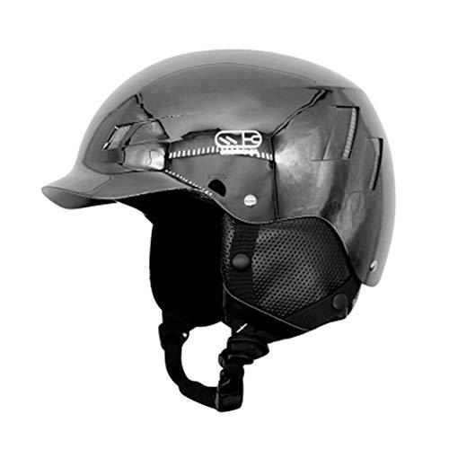 YWLG Adulti Casco da Sci Inverno Caldo Peluche Casco da Snowboard Moto Bike Ciclismo Skateboard Slitta/Sci Sport Sicurezza,Black