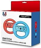 GH Lot de 2 Volants pour Manette Nintendo Joy Con Mario Kart 8 Deluxe Noir for Adults Large Red & Blue