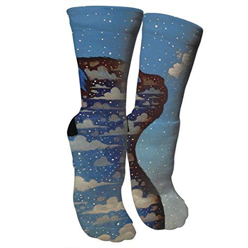 ouyjian Crazy Socks Cat und Blue Sky 3D Crew Socken