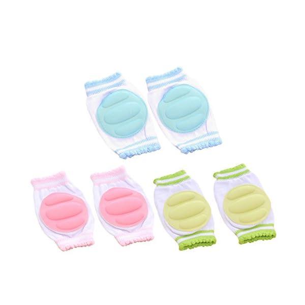 3 Pares Transpirable elástico ajustable niño bebé pequeño rodilleras almohadillas de codo de rodilla rastreando… 1