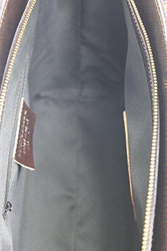 CTM Borsa Classica da Donna, Elegante alla Moda, Stile Italiano, 35x29x15cm, Vera Pelle 100% Made in Italy Marrone scuro