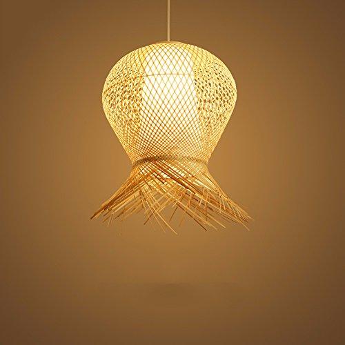 LighSCH Pendellampe Kronleuchter Vintage Retro kreative Bambus Gewebe Chinesischer Garten geflochtene Lampen 30*40cm 9 W weißes Licht Dekoration (Bronze-gewebe)