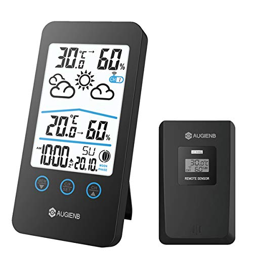 HOCOSY Wireless stazione meteo igrometro termometro interno / esterno, previsioni meteo con fase lunare, calendario Display, funzione Snooze