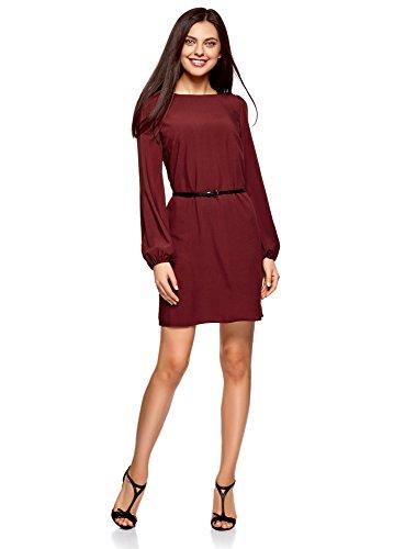 oodji Ultra Damen Viskose-Kleid Basic mit Gürtel, Rot, DE 40 / EU 42 / L