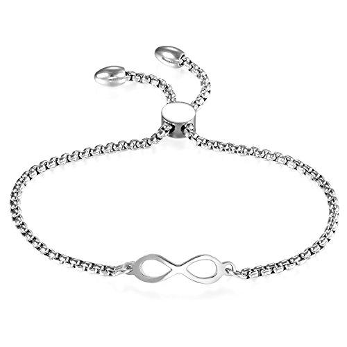 7fd47f5dd386 JewelryWe Schmuck Damen Armband, Lieben Infinity Unendlichkeit Zeichen  Verstellbar Charm Armkette Armreif, Edelstahl,