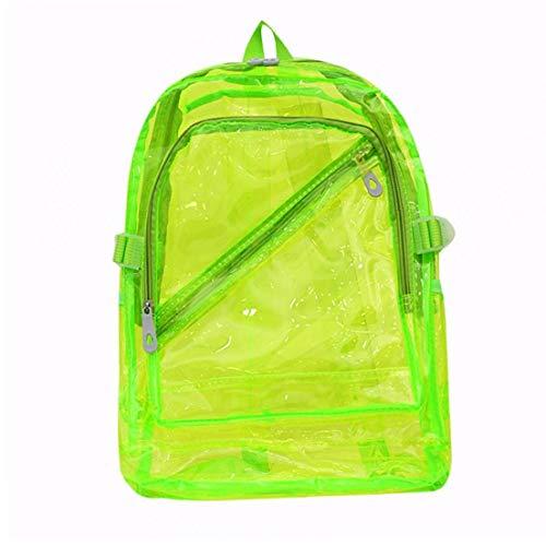 Zaino impermeabile trasparente di plastica trasparente per ragazze adolescenti della scuola del pvc borse sacchetto di spalle dello spazio zaino per notebook (verde fluorescente)