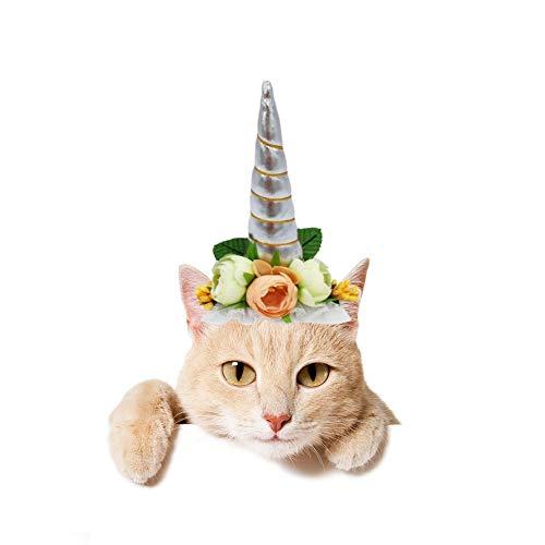 Stock Show 1 x Halloween-Hut mit Einhorn-Motiv, mit Band und Band, für Katzen und Hunde, Silber