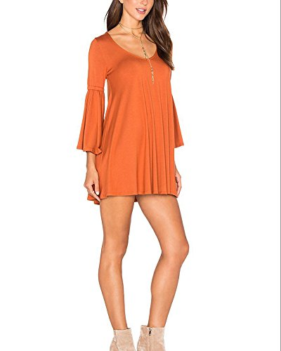 SaiDeng Femme Casual Col V Robe Manches Longues Lâche Robe Orange