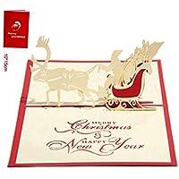 SUPRERHOUNG 3D Pop Up Christmas Greeting Card Deer Car Design Mejor Wish Card Gift Card (Rojo)
