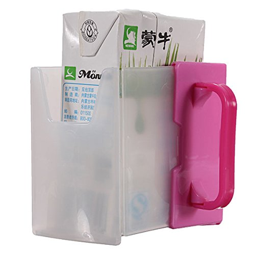 Bluelover Succo regolabile latte Box scatola titolare della formazione tazza bevente del bambino-rosa rossa