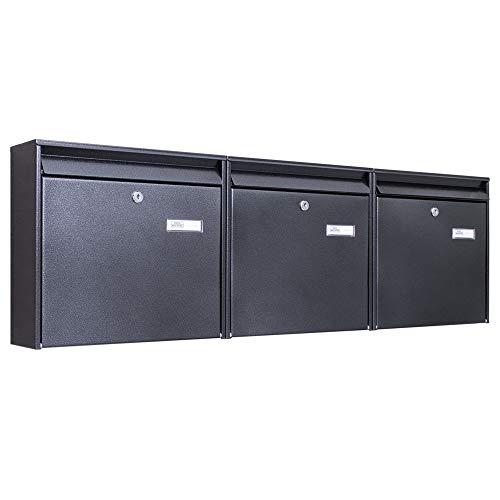 Burg-Wächter Briefkastenanlage 3 Fach | 108,6 x 32,2 x10cm groß Stahl anthrazit schwarz DIN A4 | Briefkasten Set 3 Briefkästen mit Namensschild, 2 Schlüssel, Montagematerial