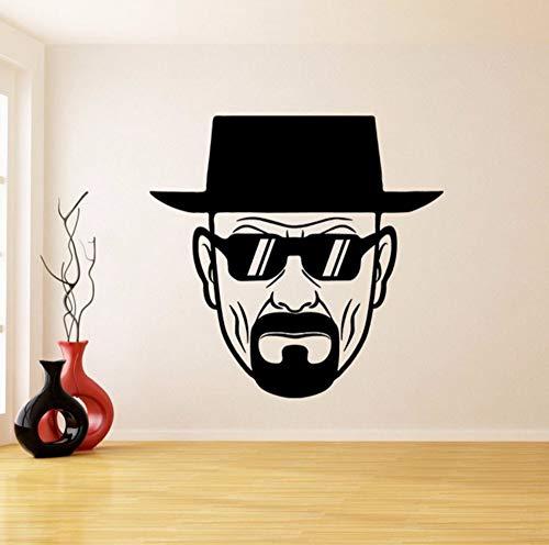 Dalxsh Vinyl Wandtattoo Breaking Bad Heisenberg mit Sonnenbrille Decor Aufkleber Ernst Walter White Wandbild Schlafzimmer Dekoration 57x59 cm