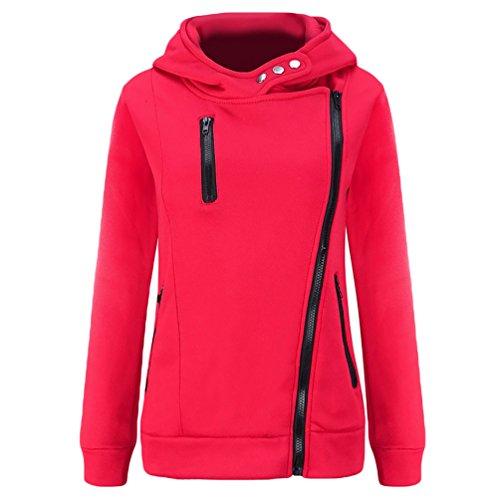 WanYang Sweats à Capuche Femme Manches Longues Hoodie zippé Pull Sweatshirt Pullover Sport Tops Jumper Automne Hiver Rose
