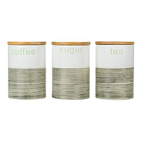 Porcelain Tea Coffee Sugar Canister Set 3 Storage Jar Half Lined with Wooden Lids (Teal Lined)