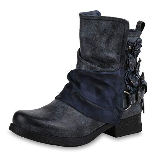 SCARPE VITA Damen Stiefeletten Biker Boots Metallic Leicht Gefütterte Schuhe 169156 Dunkelblau Blumen Leicht Gefüttert 38