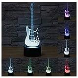 3D Illusion Guitarra electrica Lámpara luces de la noche ajustable 7 colores LED Creative Interruptor táctil estéreo visual atmósfera mesa regalo para Navidad