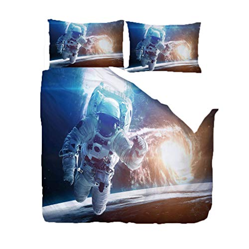 UOUL 3 Stücke Komplette Bettwäsche Set 3D Druck Astronaut Muster Realistisch für Jugendliche Kinder Erwachsene König,Astronaut-2,Super King -