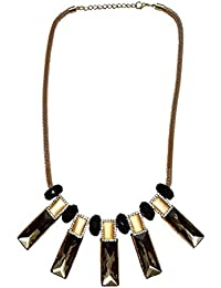 Bangasree Black Bead With Gold Plated Chain Long Necklace With Rectangular Glass Pendant For Women