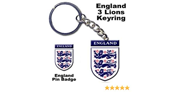 England Keyring Three Lions Crest Football Key Chain