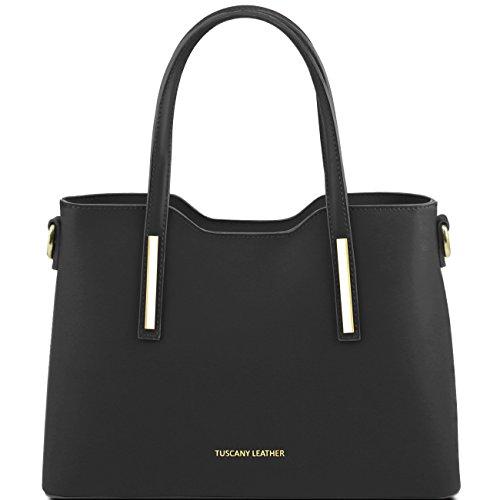 Tuscany Leather Olimpia - Sac cabas en cuir Ruga - Petit modèle Lilas Sacs à main en cuir Noir