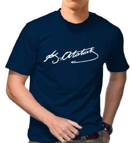 Gildan ATATÜRK T-SHIRT - TÜRKIYE TÜRKEI TURKEY IMZASI SCHRIFTZUG - Shirt IMZA MUSTAFA KEMAL ATATÜRK UNTERSCHRIFT * Viele Farben (Navy-Blau, L)