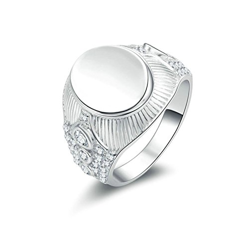 (Custom Ringe)Adisaer Ring Silber 925 Herren Ringe Strass White Oval Gravur Muster Trauringe Größe 62 (19.7) Hochzeit (Custom Kostüme Wrestling)