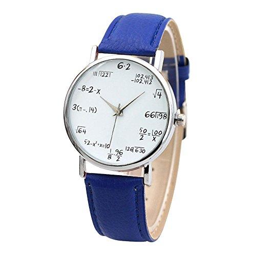 Reloj de Cuarzo de Aleación con Pulsera de Cuero PU Relojes de Pulsera con Ecuación Matemático con Correa para Mujer Proumy (Azul)