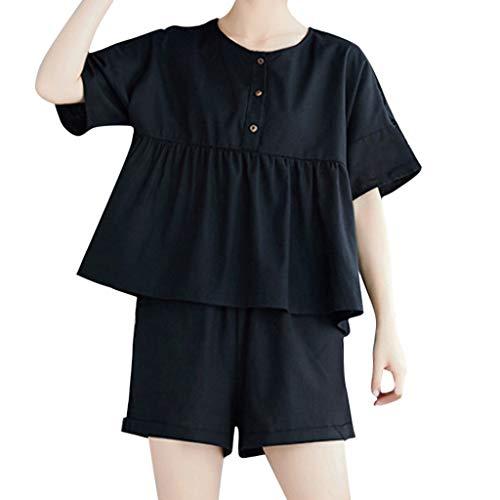 Xmiral donna camicetta elegante top corte maniche moda piani bluse e pantaloncini xl nero