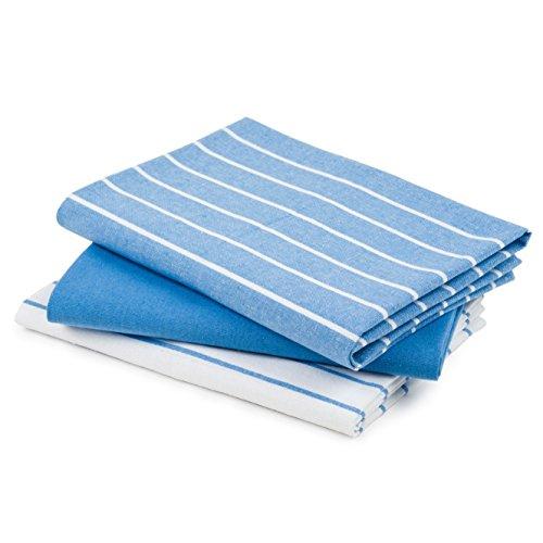 DaWo 3er-Set Geschirrtücher / Küchentücher aus recycelter Baumwolle in Hellblau mit Aufhänger | Öko-Tex Standard | weitere Farben erhältlich | 50x70 cm | extra stark mit 200g/m2
