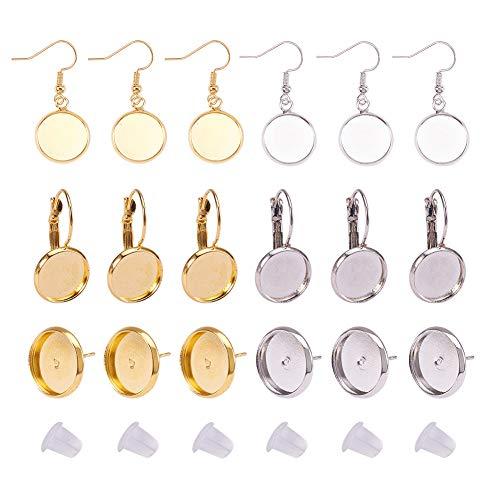 PandaHall Elite - 70pcs Messing Ohrhaken mit weißen Tropfen Ohrringe für Cabochon Ohrring, Ohrring Ohrstecker Ohrring Komponente Ohrringe, Runde Wohnung, Gemischte Farbe