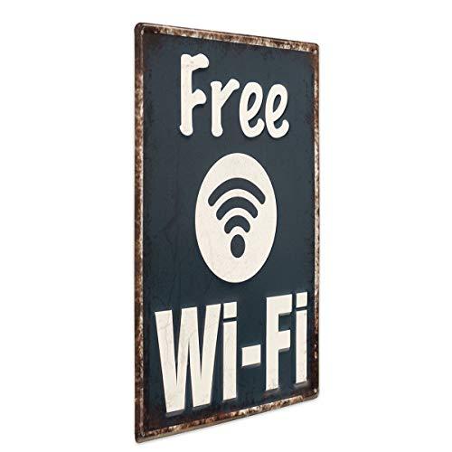 Photolini Cartel Chapa Free WiFi 30x40 cm Cartel Metal