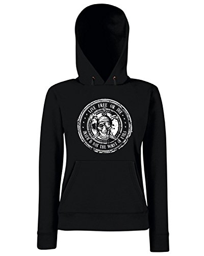 T-Shirtshock - Sweats a capuche Femme TM0624 live free or die death is not the worst of evils Noir