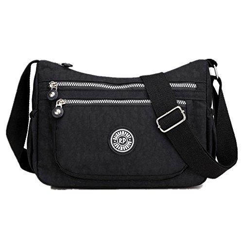 Crossbody Handtaschen Casual Umhängetaschen für Frauen Wasserdichte Nylon Messenger Bags (Schwarz2) (Body Handtaschen Stoff Schwarz Cross)