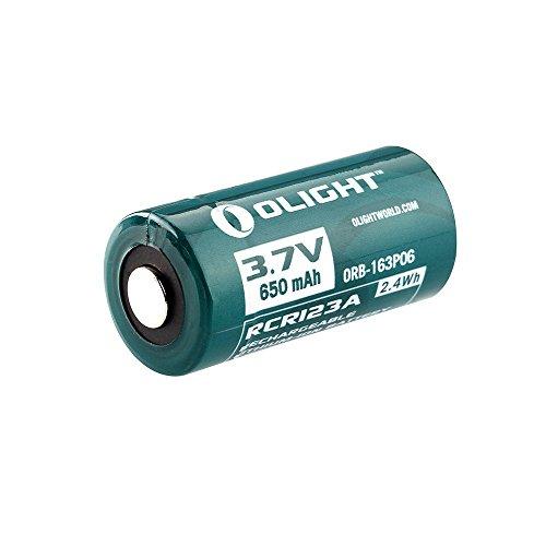 Olight® 16340 RCR123A Akkus Lithium-ion wiederaufladbar Batterie 3.7V 650mAh - 2-er Pack (original und geschützt) - 3